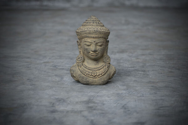 Stonework Asia Buddha Bust with a hat made from casted Lava stone