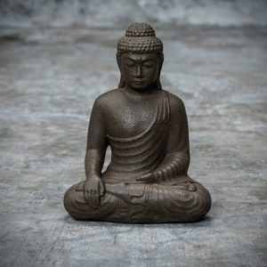 Sitting Buddha statue made from casted lava stone.