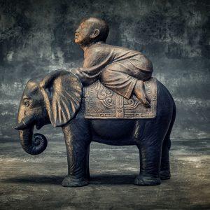 Stonework Asia Shaolin Buddha riding an elephant