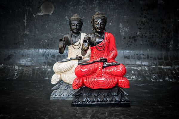 Stonework Asia Buddha on lotus holding hand up