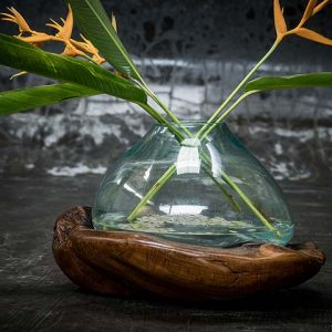 Glass bowl on Polished Wood