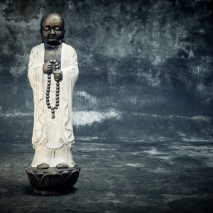 Stonework Asia Shaolin buddha with prayer beads