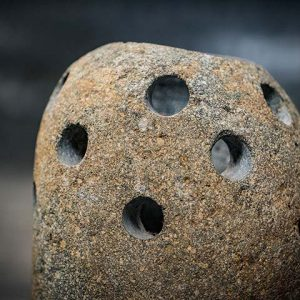 River stone candle holder bee type