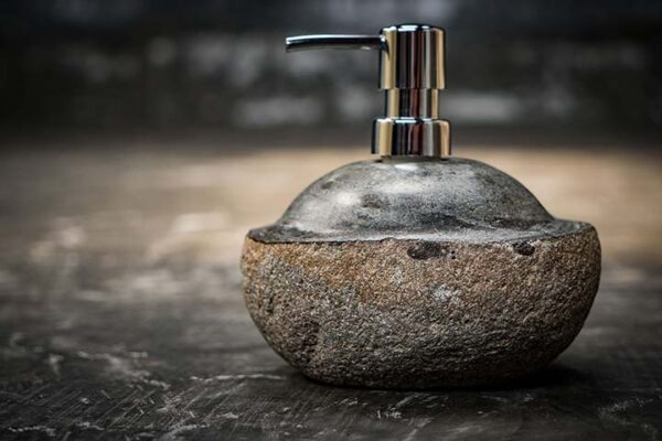 river stone soap dispenser