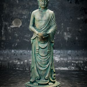 standing closed eye buddha holding cup