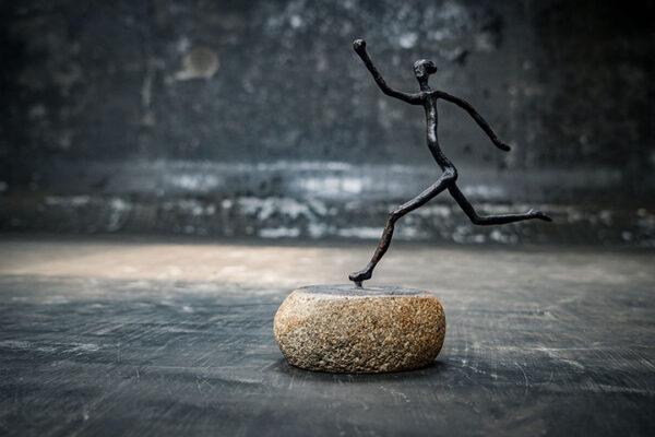 stonework asia abstract brass figure 3