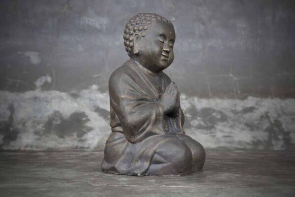 Chubby Buddha praying on the knees