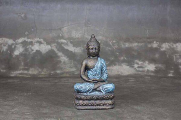 Sitting Buddha folded hands blue