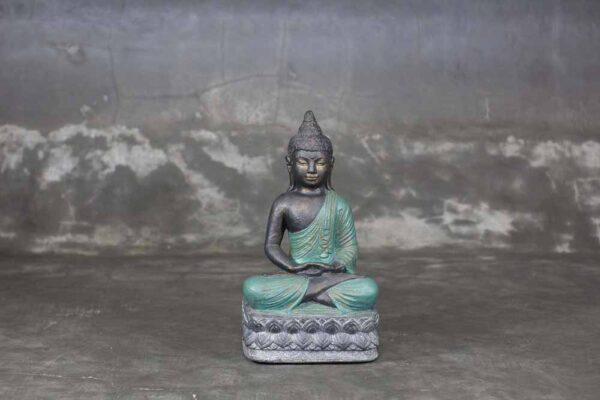 Sitting Buddha folded hands green