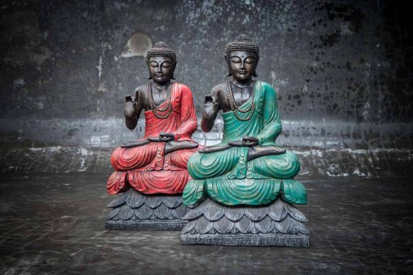 buddha on lotus hand gesture total view red green