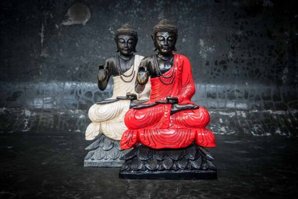 buddha on lotus hand gesture total view red white