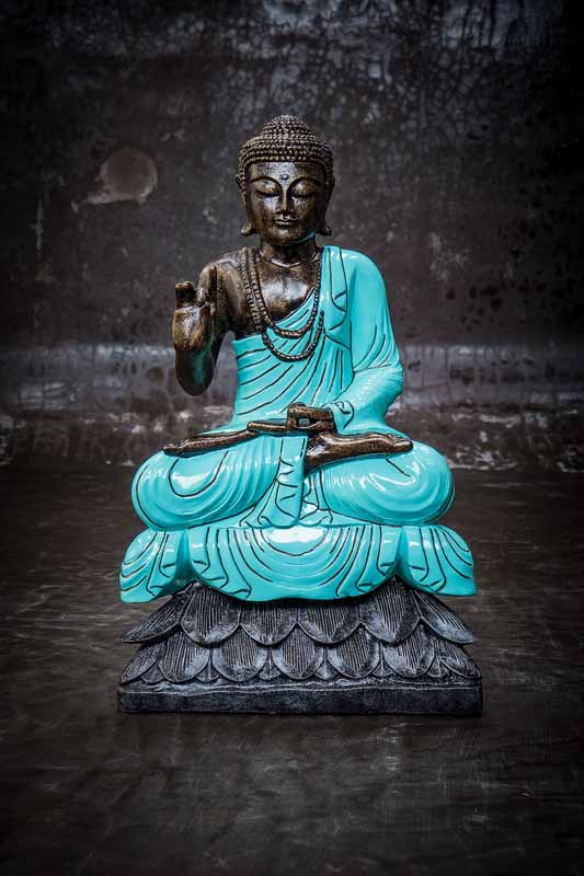 Buddha on lotus hand gesture total view turquoise