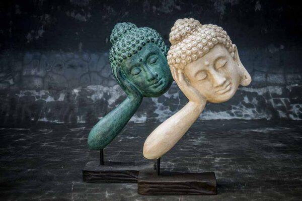 Stonework products floating Buddha head Pair