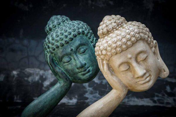 Stonework products floating Buddha head Pair close