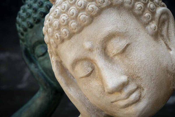 Stonework products floating Buddha head white