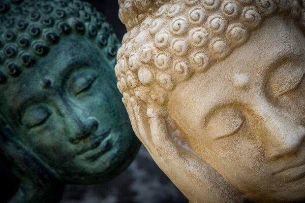 Stonework products floating Buddha head white close