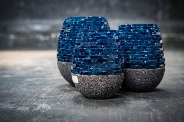 Lava glass candle black blue