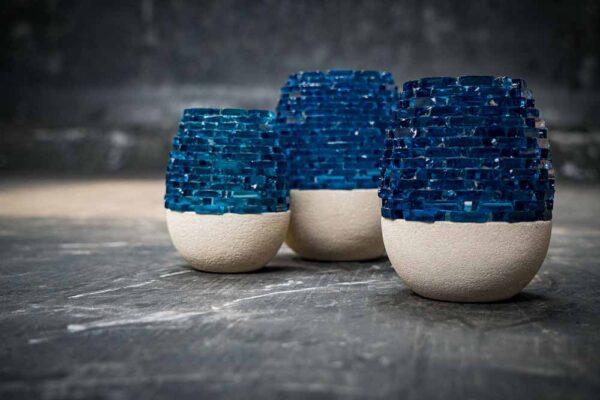 Lava glass candle white blue