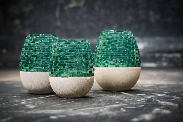 Lava glass candle white green
