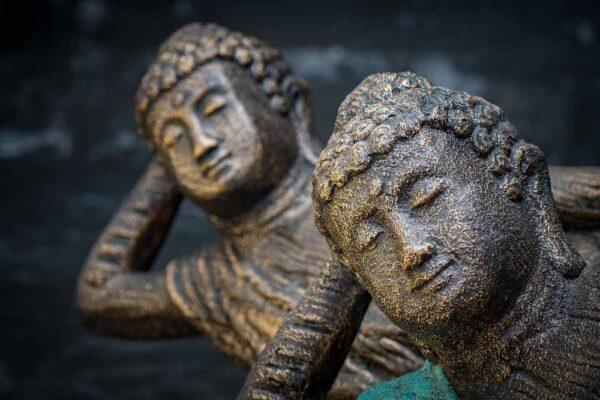 lying buddha closed eyed details face