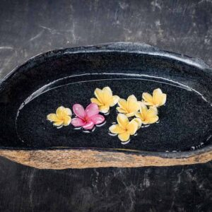 Stone work products megalithic river stone flower bowl top view