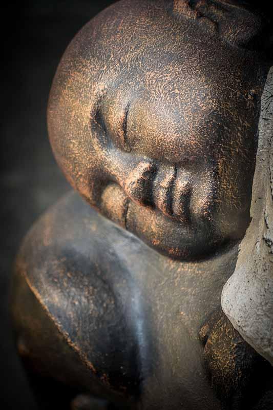 Stonework products little buddha on elephant details face white