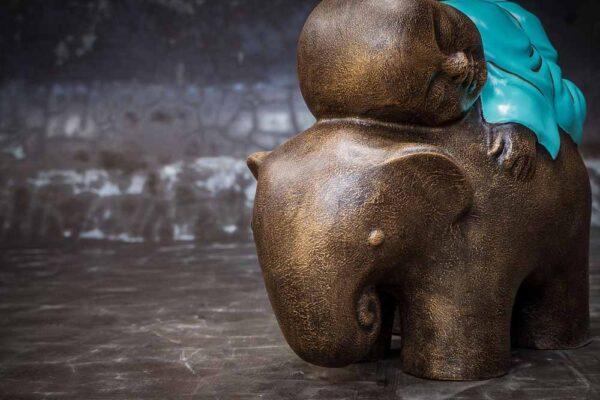 Stonework products little buddha on elephant details head turquoise