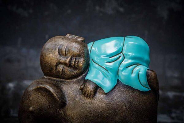 Stonework products little buddha on elephant details monk turquoise