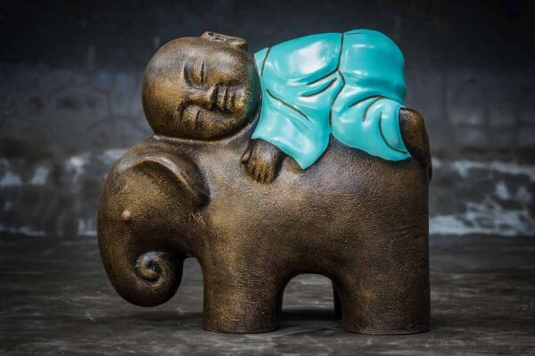 Stonework products little buddha on elephant total view turquoise