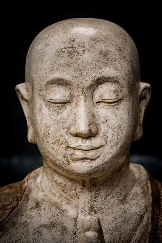 Monk praying details head