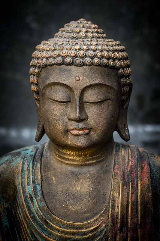 Sitting Buddha open hands details head
