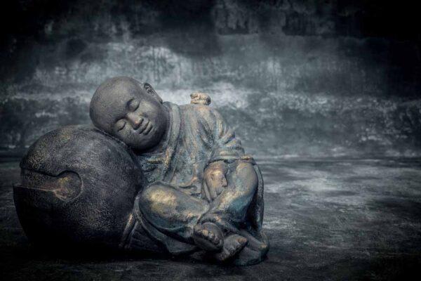 Sleeping Buddha on sphere chubby buddha total view