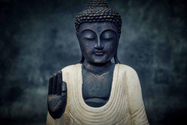 standing buddha hands up details