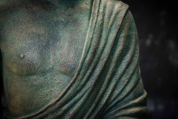 standing buddha hands up details chest