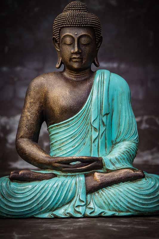 Closed eyed Buddha Body details turquoise