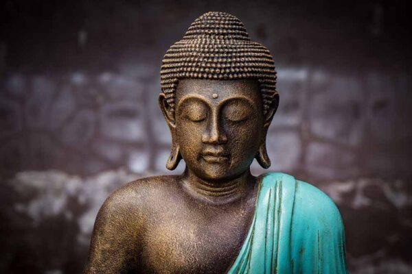 Closed eyed Buddha head details turquoise